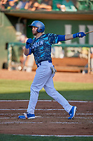 Brandon Lewis (47) of the Ogden Raptors at bat against the Rocky Mountain Vibes at Lindquist Field on July 19, 2019 in Ogden, Utah. The Raptors defeated the Vibes 9-5. (Stephen Smith/Four Seam Images)