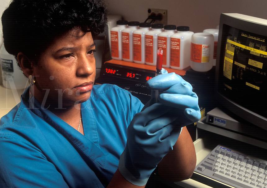 Technician in a blood gas lab.