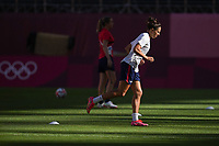 KASHIMA, JAPAN - AUGUST 4: Carli Lloyd #10 of the United States before a game between Australia and USWNT at Kashima Soccer Stadium on August 4, 2021 in Kashima, Japan.