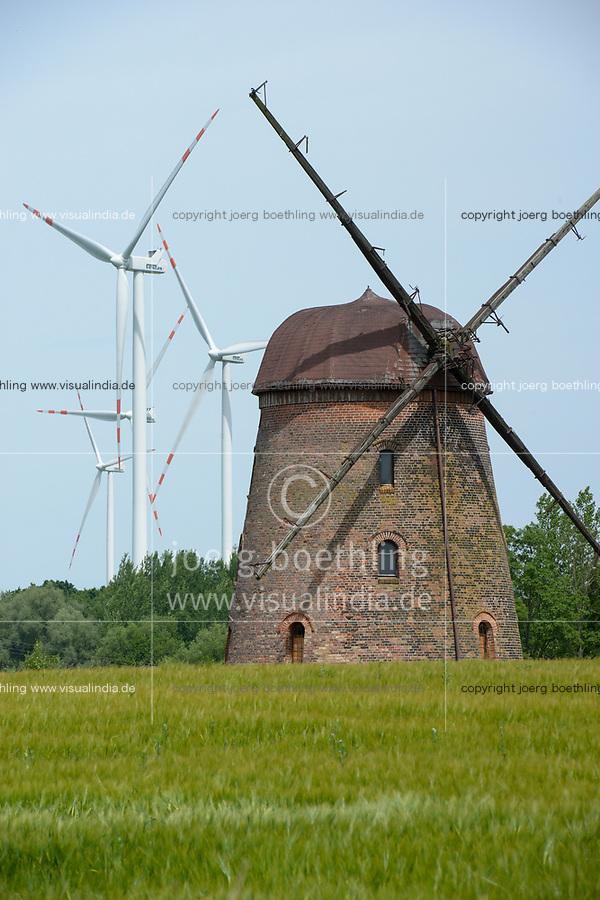 POLAND, new Vestas wind turbine and old windmill / POLEN, Pommern, Vestas Windkraftanlagen und alte Windmuehle