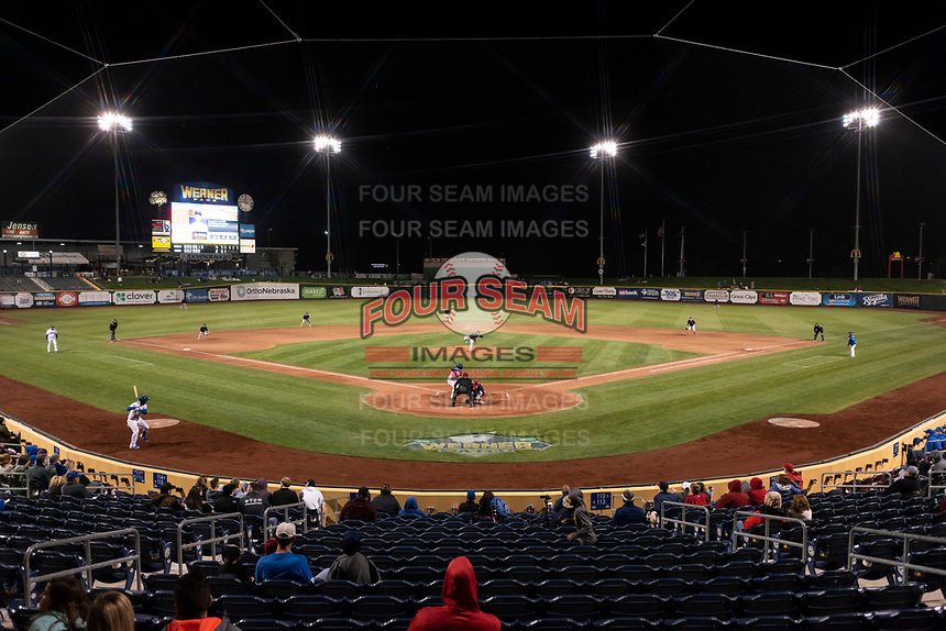 The Omaha Storm Chasers host the Memphis Redbirds during a Pacific Coast League game on April 26, 2019 at Werner Park in Omaha, Nebraska. Memphis defeated Omaha 7-3. (Zachary Lucy/Four Seam Images)