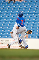 Lake County Captains second baseman Tyler Friis (7) is run over by Chris Singleton (3) at first base during the first game of a doubleheader against the South Bend Cubs on May 16, 2018 at Classic Park in Eastlake, Ohio.  South Bend defeated Lake County 6-4 in twelve innings.  (Mike Janes/Four Seam Images)