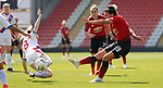 Jess Sigsworth of Manchester United Women tries a shot on goal