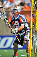 23 August 2008: Denver Outlaws' Goalkeeper Jesse Schwartzman guards the net against the Los Angeles Riptide during the Semi-Finals of the Major League Lacrosse Championship Weekend at Harvard Stadium in Boston, MA. The Outlaws edged out the Riptide 13-12, advancing to the upcoming Championship Game.. .Mandatory Photo Credit: Ed Wolfstein Photo