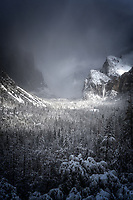 Winter storm sweeping through Yosemite Valley. Yosemite National Park, CA