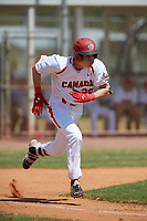 Canada Junior National Team Nathaniel Ochoa (29) runs to first base during an exhibition game against the Philadelphia Phillies on March 11, 2020 at Baseball City in St. Petersburg, Florida.  (Mike Janes/Four Seam Images)