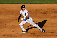 Jackson Generals Galli Cribbs Jr. (2) breaks for second base during a Southern League game against the Biloxi Shuckers on June 13, 2019 at The Ballpark at Jackson in Jackson, Tennessee. Jackson defeated Biloxi 5-4. (Brad Krause/Four Seam Images)