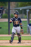 AZL Padres catcher Jose Lezama (2) on defense against the AZL White Sox on July 31, 2017 at Camelback Ranch in Glendale, Arizona. AZL White Sox defeated the AZL Padres 2-1. (Zachary Lucy/Four Seam Images)
