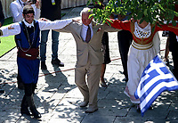 Pictured: Prince Charles dances with local people at the village of Arhanes on the island of Crete, Greece. Friday 11 May 2018 <br /> Re: HRH Prnce Charles and his wife the Duchess of Cornwall visit thevillage of Arhanes near Heraklion, Greece.