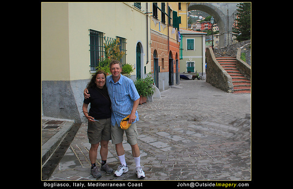 """Italy, Mediterranean Coast. <br /> As a photographer, I get the job of asking strangers to take our photo. """"Photo"""" is internationally understood, picture is not. Compose your photo beforehand along with any camera adjustments, so it goes smoothly. Oh ya, alert your fellow travel companions there's a change in plans.  John and Beth in Bogliasco near Genoa, a lovely find."""