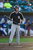 Hunter Melton (15) of the Grand Junction Rockies at bat against the Ogden Raptors in Pioneer League action at Lindquist Field on August 25, 2016 in Ogden, Utah. The Rockies defeated the Raptors 12-3. (Stephen Smith/Four Seam Images)