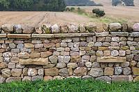 UK, England, Yorkshire.  Stone Wall, Farmland in Background.