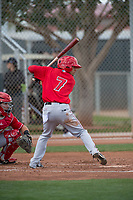 Los Angeles Angels shortstop Leonardo Rivas (7) during a Minor League Spring Training game against the Cincinnati Reds at the Cincinnati Reds Training Complex on March 15, 2018 in Goodyear, Arizona. (Zachary Lucy/Four Seam Images)