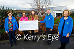Ann and Emily Brick from Barrow present a cheque for €1,614 to the Kerry Hospice on Friday from their 10th annual coffee morning. l to r: Mary Shanahan, Ann and Emily Brick, Nora O'Sullivan and Marie McSwiney.