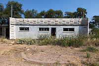 The abandoned State Line Bar along Route 66 in Glenrio, New Mexico. Glenrio straddled the Texas-New Mexico state line and thrived through the 40's, 50's, and 60's until the Interstate bypassed the town in 1975.