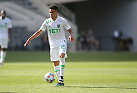 LOS ANGELES, CA - APRIL 17: Daniel Pereira #15 of Austin FC traps a ball during a game between Austin FC and Los Angeles FC at Banc of California Stadium on April 17, 2021 in Los Angeles, California.