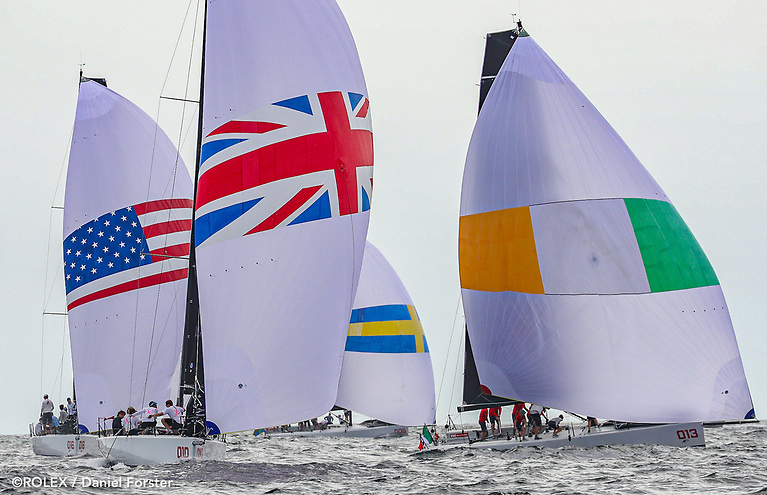 Royal Cork (IRL) gybe ahead of Royal Thames (GBR) in the first day of racing at the New York Invitational Cup. Royal Thames are overall leaders with fourth overall RCYC finishing one place behind Royal Thames in each of the first two races of the Cup