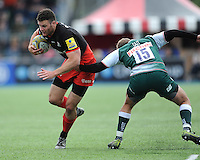 Duncan Taylor of Saracens goes past Mathew Tait of Leicester Tigers during the Aviva Premiership semi final match between Saracens and Leicester Tigers at Allianz Park on Saturday 21st May 2016 (Photo: Rob Munro/Stewart Communications)