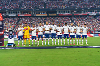 NASHVILLE, TN - SEPTEMBER 5: The United States stands on the field during a game between Canada and USMNT at Nissan Stadium on September 5, 2021 in Nashville, Tennessee.