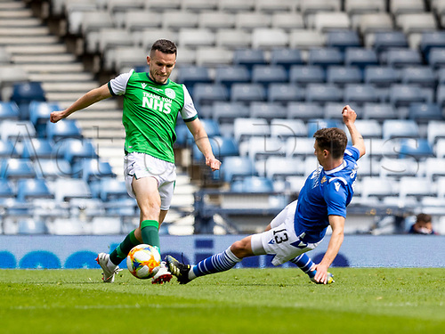 22nd May 2021; Hampden Park, Glasgow, Scotland; Scottish Cup Football Final, St Johnstone versus Hibernian; Craig Bryson of St Johnstone slides in to tackle Paul McGinn of Hibernian