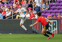 ORLANDO, FL - MARCH 05: Emi Nakajima #7 of Japan controls the ball during a game between Spain and Japan at Exploria Stadium on March 05, 2020 in Orlando, Florida.