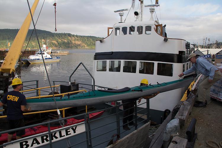 Vancouver Island, Port Alberni, MV Francis Barkley, Lady Rose Marine Services, loading kayaks for Barkley Sound, Deer Group, British Columbia, Canada,