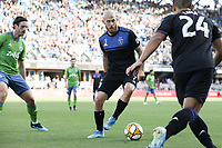 SAN JOSE, CA - SEPTEMBER 29: Magnus Eriksson #7 of the San Jose Earthquakes during a Major League Soccer (MLS) match between the San Jose Earthquakes and the Seattle Sounders on September 29, 2019 at Avaya Stadium in San Jose, California.