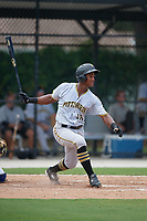 GCL Pirates right fielder Jeremias Portorreal (16) hits a single during a game against the GCL Blue Jays on July 20, 2017 at Bobby Mattick Training Center at Englebert Complex in Dunedin, Florida.  GCL Pirates defeated the GCL Blue Jays 11-6 in eleven innings.  (Mike Janes/Four Seam Images)