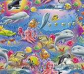 Interlitho, Lorella, GIFT WRAPS, paintings, whale, dolphin, treasure(KL7052,#GP#) everyday