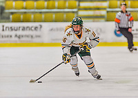 13 February 2015: University of Vermont Catamount Forward Bridget Baker, a Sophomore from Los Gatos, CA, leads a third period rush against the University of New Hampshire Wildcats at Gutterson Fieldhouse in Burlington, Vermont. The Lady Catamounts fell to the visiting Wildcats 4-2 in the first game of their weekend Hockey East series. Mandatory Credit: Ed Wolfstein Photo *** RAW (NEF) Image File Available ***
