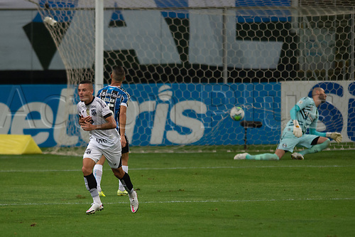 14th November 2020; Arena de Gremio, Porto Alegre, Brazil; Brazilian Serie A football league, Gremio versus Ceara; Kelvyn of Ceará celebrates his goal in the 37th minute for 2-1