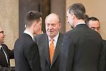 Jesús Tortosa Cabrera, King Juan Carlos and King Felipe VI of Spain attends to the National Sports Awards 2015 at El Pardo Palace in Madrid, Spain. January 23, 2017. (ALTERPHOTOS/BorjaB.Hojas)