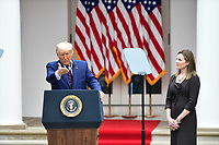 President Donald Trump announces Amy Coney Barrett, 48, as his nominee for Associate Justice of the Supreme Court of the United States during a ceremony in the Rose Garden at The White House in Washington, DC., Saturday, September 26, 2020.<br /> CAP/MPI/RS<br /> ©RS/MPI/Capital Pictures