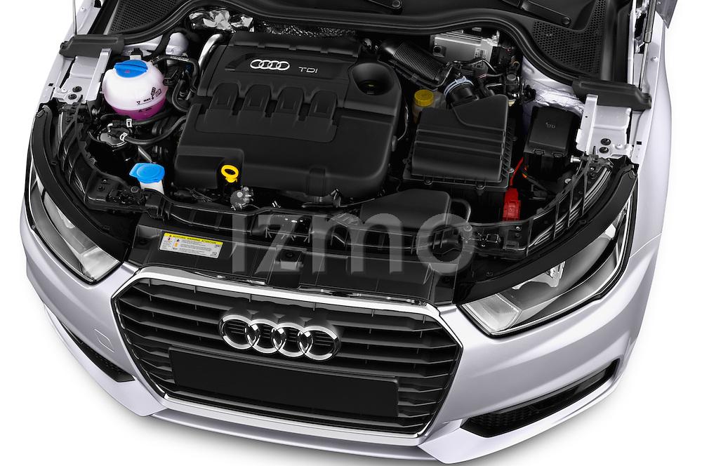 Car Stock 2015 Audi A1 Sportback 5 Door Hatchback Engine high angle detail view