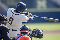 Michigan Wolverines first baseman Jimmy Obertop (8) hits a home run during the NCAA baseball game against the Illinois Fighting Illini at Fisher Stadium on March 19, 2021 in Ann Arbor, Michigan. Illinois won the game 7-4. (Andrew Woolley/Four Seam Images)