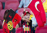 St Johnstone v Eskisehirspor....18.07.12  Uefa Cup Qualifyer.A young Eskisehirspor fan waves his flags.Picture by Graeme Hart..Copyright Perthshire Picture Agency.Tel: 01738 623350  Mobile: 07990 594431
