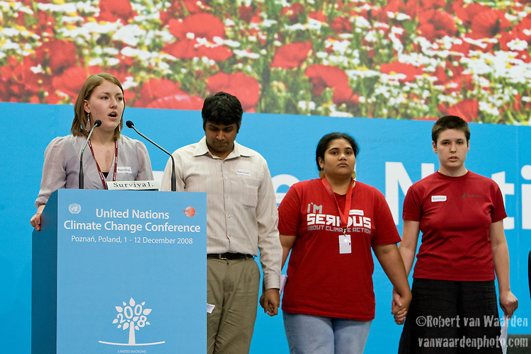 Ms. Taryn McKenzie-Mohr from Canada speaks on behalf of the International Youth Delegates during the High Level segment at the UN. Also pictured, (l-r) Mr. Kartikeya Singh (India), Ms Leah Wickham (South Pacific Islands) and Ms. Eline Crossland (Denmark). UNFCCC COP 14 (©Robert vanWaarden ALL RIGHTS RESERVED)