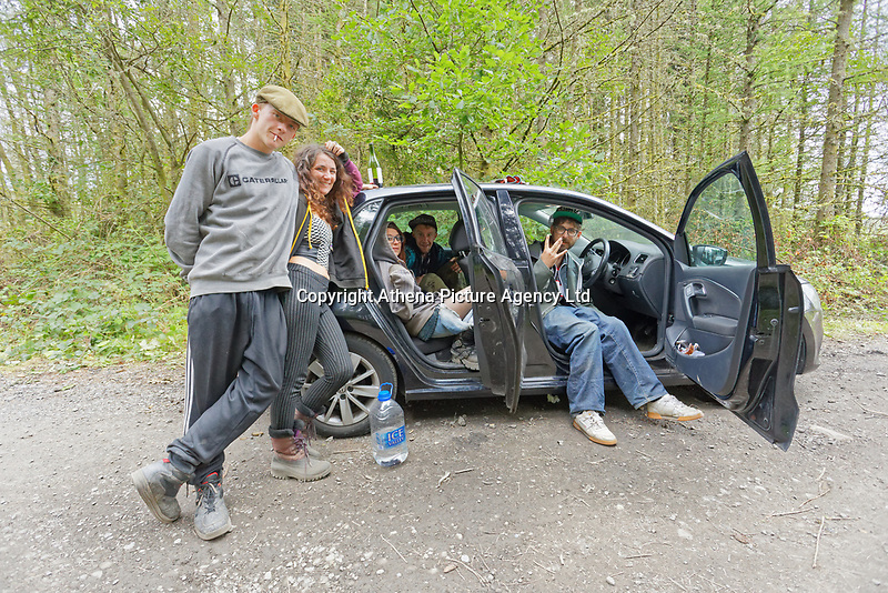 Pictured: A group of young people from Bristol rest in their car. Monday 31 August 2020<br /> Re: Around 70 South Wales Police officers executed a dispersal order at the site of an illegal rave party, where they confiscated sound gear used by the organisers in woods near the village of Banwen, in south Wales, UK.