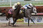 March 29, 2014:  #6  In Tune (KY) with jockey Javier Castellano duels with #8 House Rules (KY) with jockey Alex Solis to win the G2 Gulfstream Oaks at Gulfstream Park in Hallandale Beach, FL.  Liz Lamont/ESW/CSM