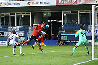 4th May 2021; Kenilworth Road, Luton, Bedfordshire, England; English Football League Championship Football, Luton Town versus Rotherham United; James Collins and Dan Potts of Luton Town collide going for a header