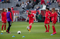 CARSON, CA - FEBRUARY 9: Allysha Chapman #2 and Canada warming up during a game between Canada and USWNT at Dignity Health Sports Park on February 9, 2020 in Carson, California.
