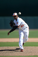 Baltimore Orioles pitcher Wesley Wright (40) during a Spring Training game against the Tampa Bay Rays on March 14, 2015 at Ed Smith Stadium in Sarasota, Florida.  Tampa Bay defeated Baltimore 3-2.  (Mike Janes/Four Seam Images)