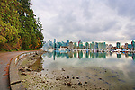 In urban Stanley Park, the promenade takes walkers, bikers, and bladers past the downtown skyline and lush natural gardens.