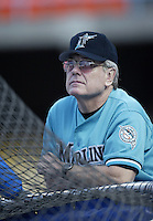 Florida Marlins Manager Jeff Torborg before a 2002 MLB season game against the Los Angeles Dodgers at Dodger Stadium, in Los Angeles, California. (Larry Goren/Four Seam Images)