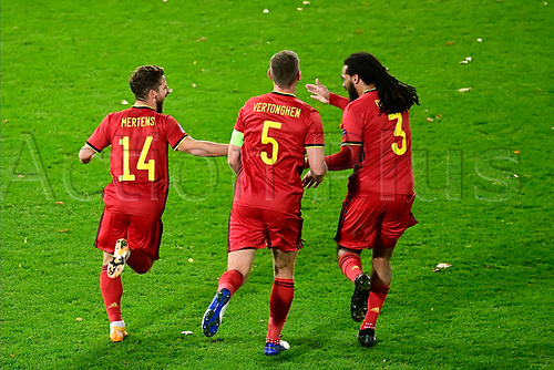 15th November 2020; Leuven, Belgium;   Dries Mertens forward of Belgium celebrates scoring his goal during the UEFA Nations League match group stage final tournament - League A - Group 2 between Belgium and England
