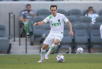 LOS ANGELES, CA - APRIL 17: Jared Stroud #20 of Austin FC moves with the ball during a game between Austin FC and Los Angeles FC at Banc of California Stadium on April 17, 2021 in Los Angeles, California.