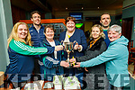Na Gaeil ladies standing with their winning Captain and Manager in the clubhouse  on Monday.<br /> Front l to r: Niamh Burke, Jackie Carlos, Helen Sugrue, Lisa Rice and Cait Looney.<br /> Back: Donal Rooney and Eoin Doody.