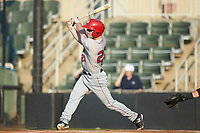Gage Canning (29) of the Hagerstown Suns follows through on his swing against the Kannapolis Intimidators at Kannapolis Intimidators Stadium on July 16, 2018 in Kannapolis, North Carolina. The Intimidators defeated the Suns 7-6. (Brian Westerholt/Four Seam Images)