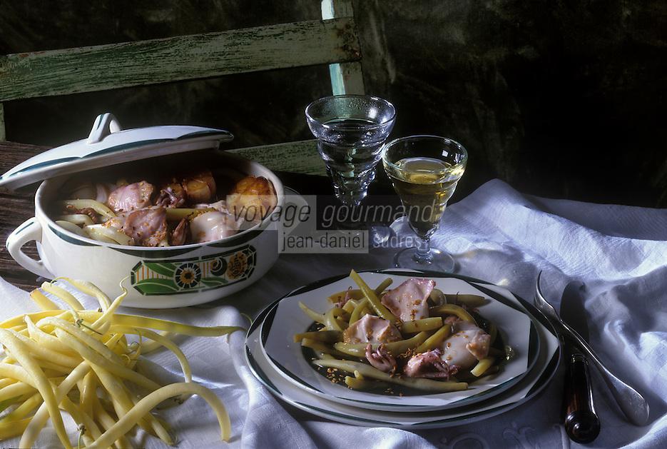 Cuisine/Gastronomie Generale: Poêlée de  haricots beurre  et de chipirons