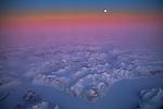 Canada, Baffin Island, moonset aerial